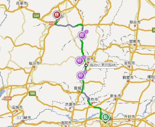 河南郑州到平遥古城路线图